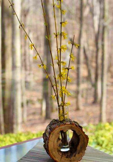 wood slice vase